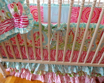 SALE- Patchwork Bumpers, Sheet and 3 Tiered Ruffle Crib Skirt in Kumari Garden Fabric
