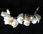 Vintage Mother of Pearl White Shell Dangle Charm Bracelet - Lisner
