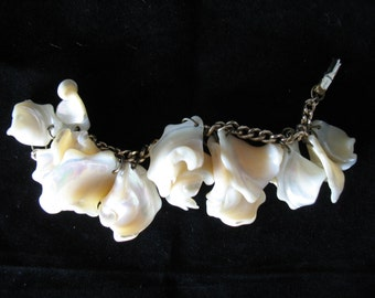 Vintage Mother of Pearl White Shell Dangle Charm Bracelet - Lisner