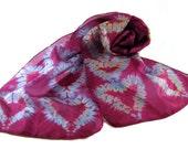 Pink and Blue, Silk Scarf, Shibori Scarf