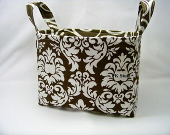 PK Fabric Basket in Dandy Damask in Brown - Storage Basket - Diaper Caddy - Ready To Ship - Reversible