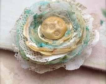 Shabby Tattered Corsage Brooch Upcycled Recycled Lace Flower Brooch Small Pin
