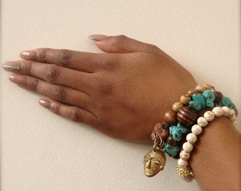 Stretch Bracelet Trio Brown Jasper, Turquoise Magnesite, White Howlite Wellbeing Jewelry - Boho Chi Chi African Ethnic Spring Sale