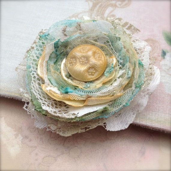 Shabby Tattered Corsage Brooch Upcycled Recycled Lace Flower Brooch Small Pin January Sale