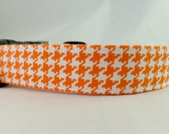 Outrageous Orange and White Houndstooth Dog Collar