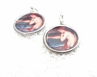 Adult Mermaid Earrings, Dangley Mermaid Earrings, Nautilus Earrings,Sailor Earrings