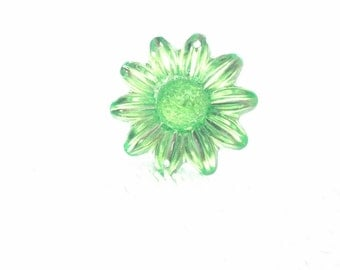 Flower Green  Ring,  Green Adjustable Ring, Green Rhinestone Ring