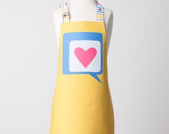 Kid Double Sided Appliqué Heart in a Word Bubble Apron