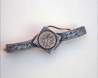 Vintage Sterling Silver & 10k Gold Sun Tie Clip - Mexico