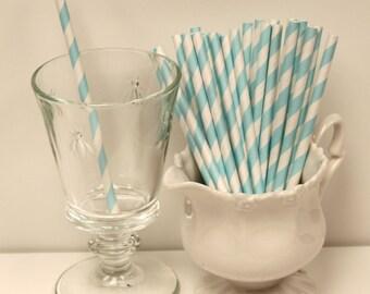 Cocktail Paper Straws, 25 Light BLUE Stripe Cocktail Paper Straws, Short Straws, Kids Paper Straws, Blue Paper Straws, Wedding Drink Straws