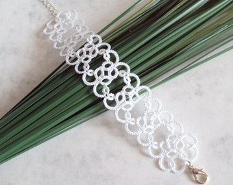 Wedding White Lace Bracelet in Tatting - Christina