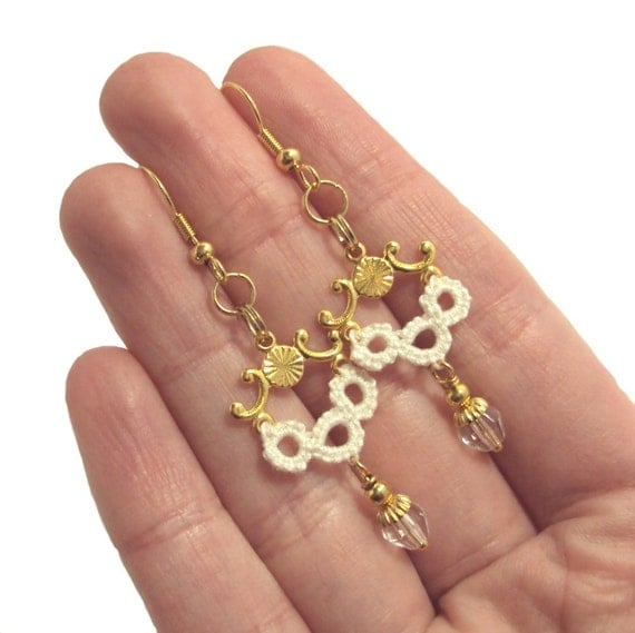 Gold, Cream Earrings One Of A Kind - 'Luna' in tatting