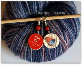 Knit Girl and Butterfly Stitch Markers (Set of 2)