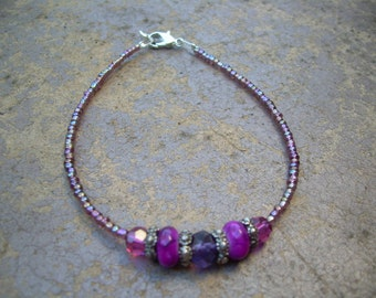 This is a beautiful OOAK large Bracelet  Hand made By Me with Glass beads and seed bead 8 1/2 inches long