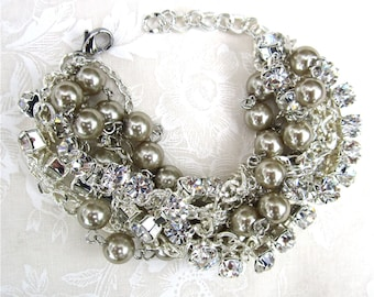 Silver Bridal Bracelet, Wedding Bracelet, Silver Bridesmaid Bracelet, Pearl Rhinestone Chunky Statement Bracelet, Crystal Pearl Bracelet