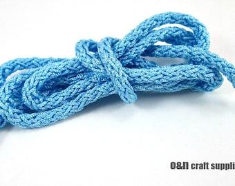 Acetino braided silk cord, 6mm, light blue, / 1.5 meters