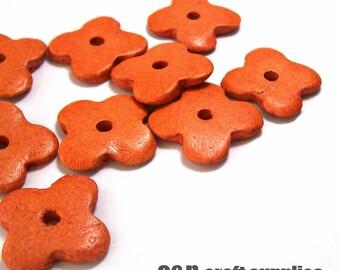 Flower greek ceramic beads, orange - set of 10