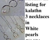 Reserved for kalathn 3 necklaces White Swarovski Pearl Necklace Twist Feng Shui No. 8 With Gift box Bridal Party, Party Favors, Bridesmaid