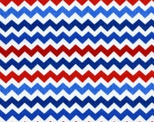 Ziggy Zig Zag Chevron TT Fabric Red White Blue July 4 Nautical Patriotic Colors quarter inch - AllegroFabrics