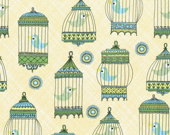 La Cage Au Birdie CW Fabric Menagerie Blue Yellow Birds In Vintage Cages on Pale Yellow