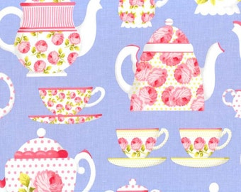 OOP HTF one yard 23 in Michael Miller Tea Room Fabric Party Tea Cups Pots with Polka Dots and Roses on Periwinkle Blue Lavender