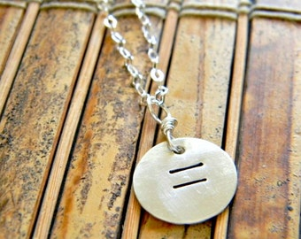 equality necklace, hand stamped. sterling silver