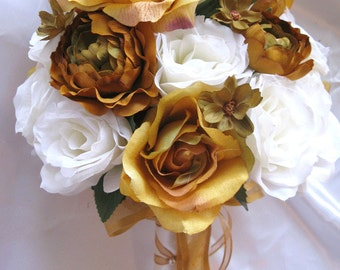 Wedding Bouquet Bridal Silk flowers Fall GOLD IVORY Burnt ORANGE Olive 17pc Package bridal arrangements
