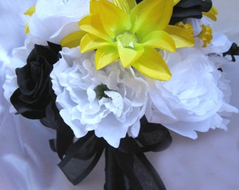 """Wedding Bouquet Bridal Silk flowers YELLOW BLACK WHITE 17 piece Package Free shipping Decoration """" Roses and Dreams"""""""