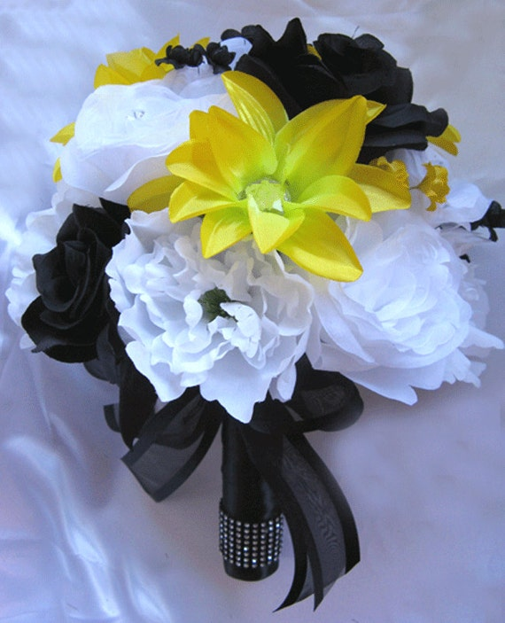 Black And Yellow Wedding Flowers: Wedding Bouquet Bridal Silk Flowers YELLOW BLACK WHITE 17