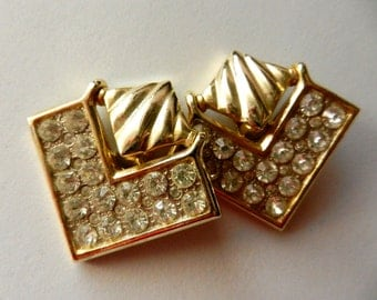 Gorgeous earrings 1970s, Italian - bright crystals and gold for a unique style-Original jewelry-Art.387/2-