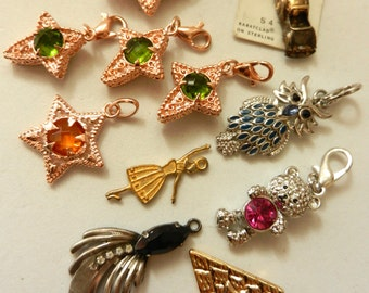 Vintage 1950/1960 - small delights rare and original - pendants and charms silver,gold and crystal - 11 pieces -art.239/2-
