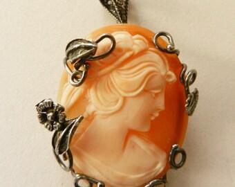Cameo 1950, Italian - vintage high quality -pendant / brooch genuine Carnelian cameo--Art. 402/2 -