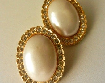 Special Wedding Glamour - large earrings 1960 - oval Pearls with crystal and gold-Art.579/2-