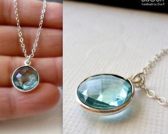 Sky Blue Quartz Bezel Set Pendant Necklace -  Sterling Silver