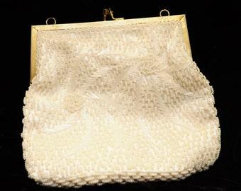 Vintage Magid Ivory Beaded Handbag (Made in Hong Kong)