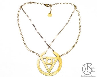 Philosopher's Stone, Geometric Necklace, Brass, Sacred Geometry, Triangle Necklace, Made in CA,