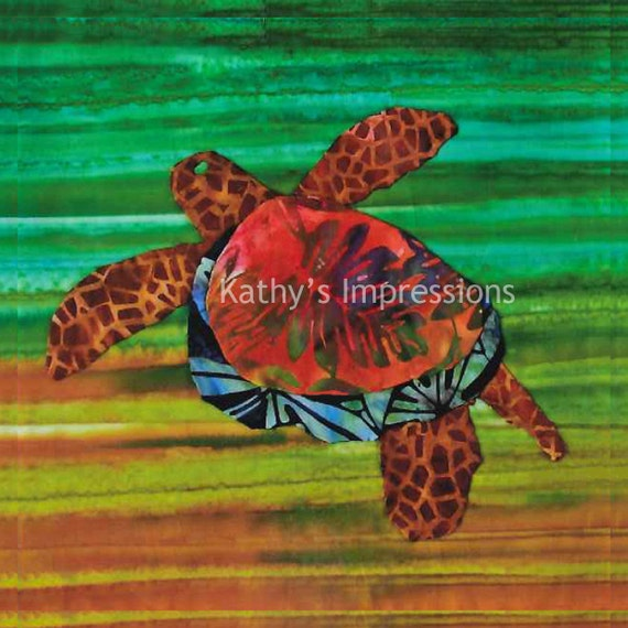 "HONU Sea TURTLE Warm Colors- 10"" Batik Fabric Quilt Panel Block- Tropical Ocean Hawaii"