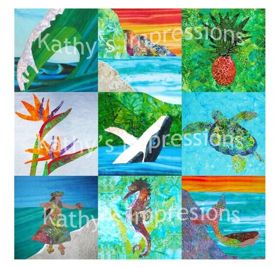 Choice of (9) HAWAII ANA QUILT Batik Tropical Art Applique Patterns