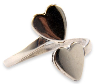 Two for One Sale....Double Heart Ring - Solid Sterling Silver - Adjustable