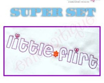 Little Flirt Super Set - Mommy, Daddy, Auntie, Grandma, Grandpa- Instant Email Delivery Download Machine embroidery design
