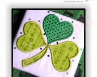 Irish Shamrock with Heart Applique Leaves - St. Patrick's Day Love- -Instant Download Digital Files for Machine Embroidery