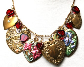 """21"""" Bright Hand Painted Vintage New Brass Hearts and Czech Red Glass Hearts Gold Chain Necklace"""