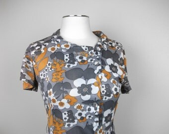 Mod Gray and Mustard 60s Floral Day Dress, S/M