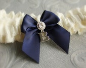 Garter SET in Ivory and Navy Blue - the Adelaide Bridal Garter (Also Available in White or Off-white) - Wedding Day Something Blue