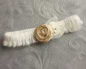 Dainty Bridal Garter in Ivory with Champagne Rosette - the Ella Wedding Garter (other colors available)