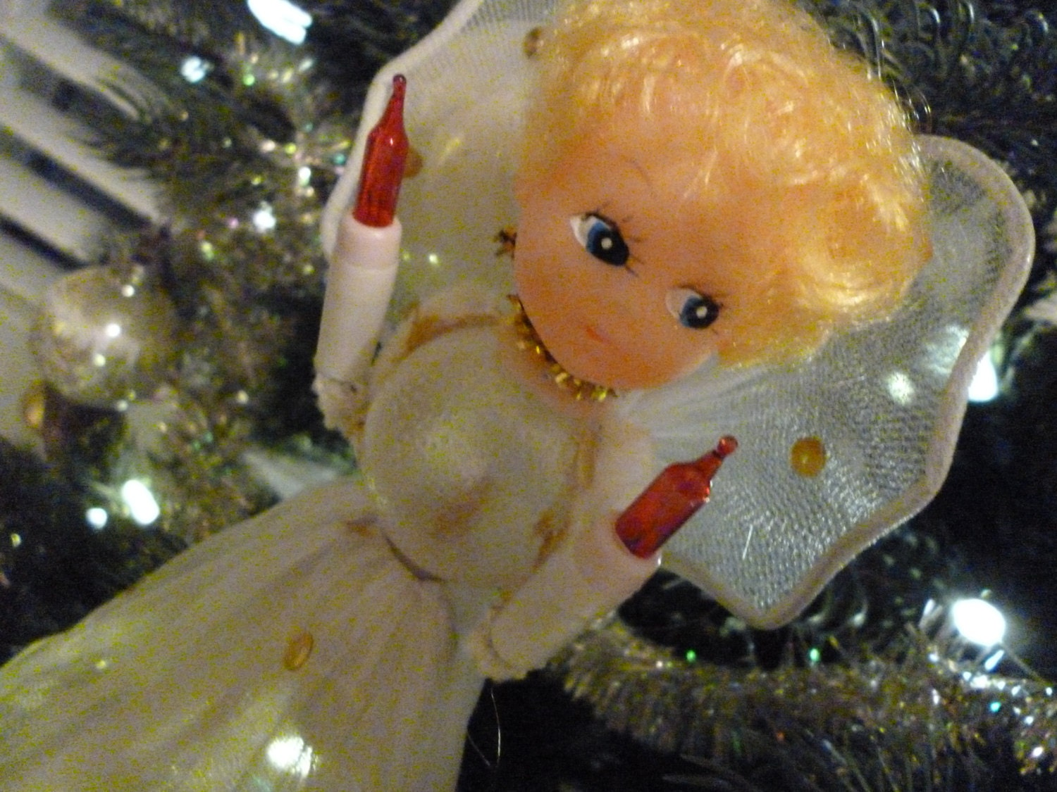 Vintage Lighted Angel Tree Topper Christmas By