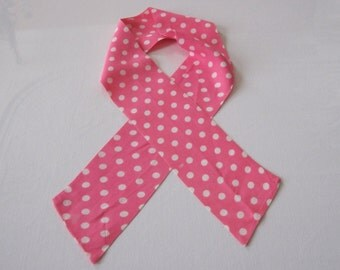 70's Sash Scarf in Pink and White Polka Dot Oblong