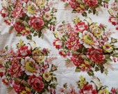 White Rosy Red Posy Fabric Pattern - Floral Patterned Cotton - One Yard