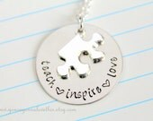 Teach Inspire Love Special Needs Puzzle Piece Autism Necklace