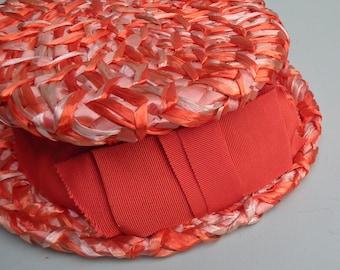 Vintage 50s 60s Raffia Hat Women's Peach Orange Cellophane Straw Type Summer Hat 1950s 1960s Charter Hats UK ladies' fashion accessories